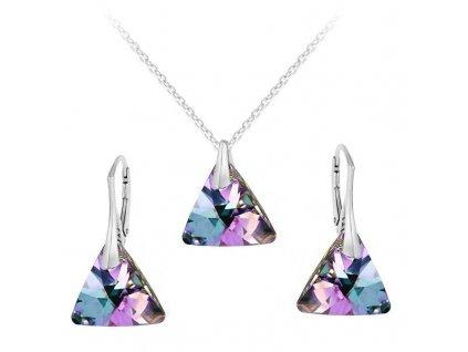 swarovski suprava trojuholnik fialova vl strieborna set6628vl16r s retiazkou