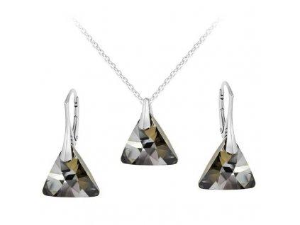swarovski suprava trojuholnik cierna silver strieborna set6628sn16r s retiazkou