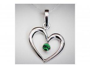 Přívěšek srdce se smaragdem