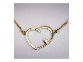 Náhrdelník srdce s diamantem