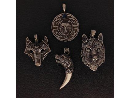 Zvířata - vlci - Přívěsek z chirurgické nerez oceli 316L