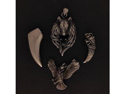 Zvířata - vlk, sova, tesák - Přívěsek z chirurgické nerez oceli 316L