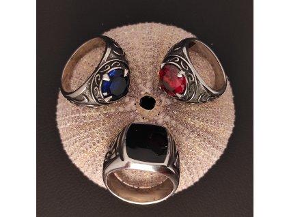 Keltský prsten  z chirurgické nerez oceli 316L s broušeným kamenem