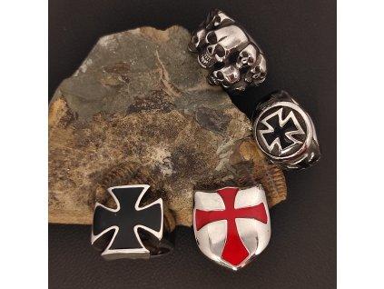 Prsteny z chirurgické nerez oceli 316L - historické a motorkářské motivy - templářský kříž, maltézský kříž, lebky