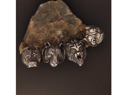 Prsteny z chirurgické nerez oceli 316L - se zvířecími motivy - medvěd, lev, buldog, rotvajler