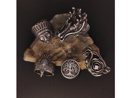 Prsteny z chirurgické nerez oceli 316L - Indiáni, zvířata, strom života, růže, vlk orel