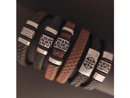 Pletené kožené náramky na míru s komponenty z chirurgické nerez oceli 316L