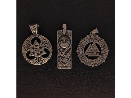 Přívěsek z chirurgické nerez oceli 316L - Mytologické symboly - Odin, Valknut, Trojitý uzel, Triquetra