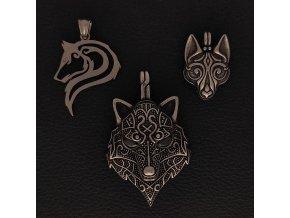 Zvířata - vlk, liška - Přívěsek z chirurgické nerez oceli 316L
