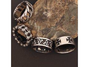Prsteny z chirurgické nerez oceli 316L - keltské a motorkářské motivy - trojitý uzel, kříž