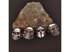 Prsteny z chirurgické nerez oceli 316L - motorkářské motivy - lebky a lebky s kamínkem