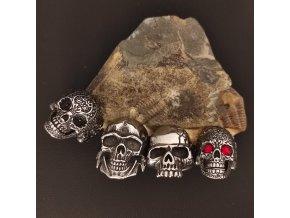Prsteny z chirurgické nerez oceli 316L - motorkářské motivy - rituální lebky a lebky s kamínkem