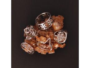 Decentní prsten z chirurgické nerez oceli 316L - tématika víly - symboly květin, strom života, spirály