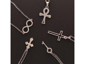 Decentní jemné řetízky s přívěskem z chirurgické nerez oceli 316L - symbol nekonečno (infinity), kříž, klíč, NILSKÝ EGYPTSKÝ KŘÍŽ ANCH