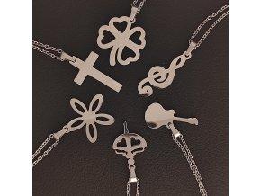 Decentní jemné řetízky s přívěskem z chirurgické nerez oceli 316L - symboly čtyřlístek, křížek, houslový klíč, baletka, květina, kytara