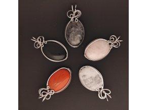 Ručně drátované přívěsky z oceli s polodrahokamy - růženín, křišťál, onyx, labradorit, červený jaspis