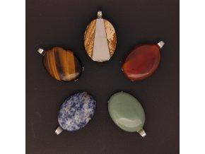 Ručně vyrobené přívěsky z oceli s polodrahokamy - zelený avanturín, tygří oko, obrázkový jaspis, karneol, sodalit