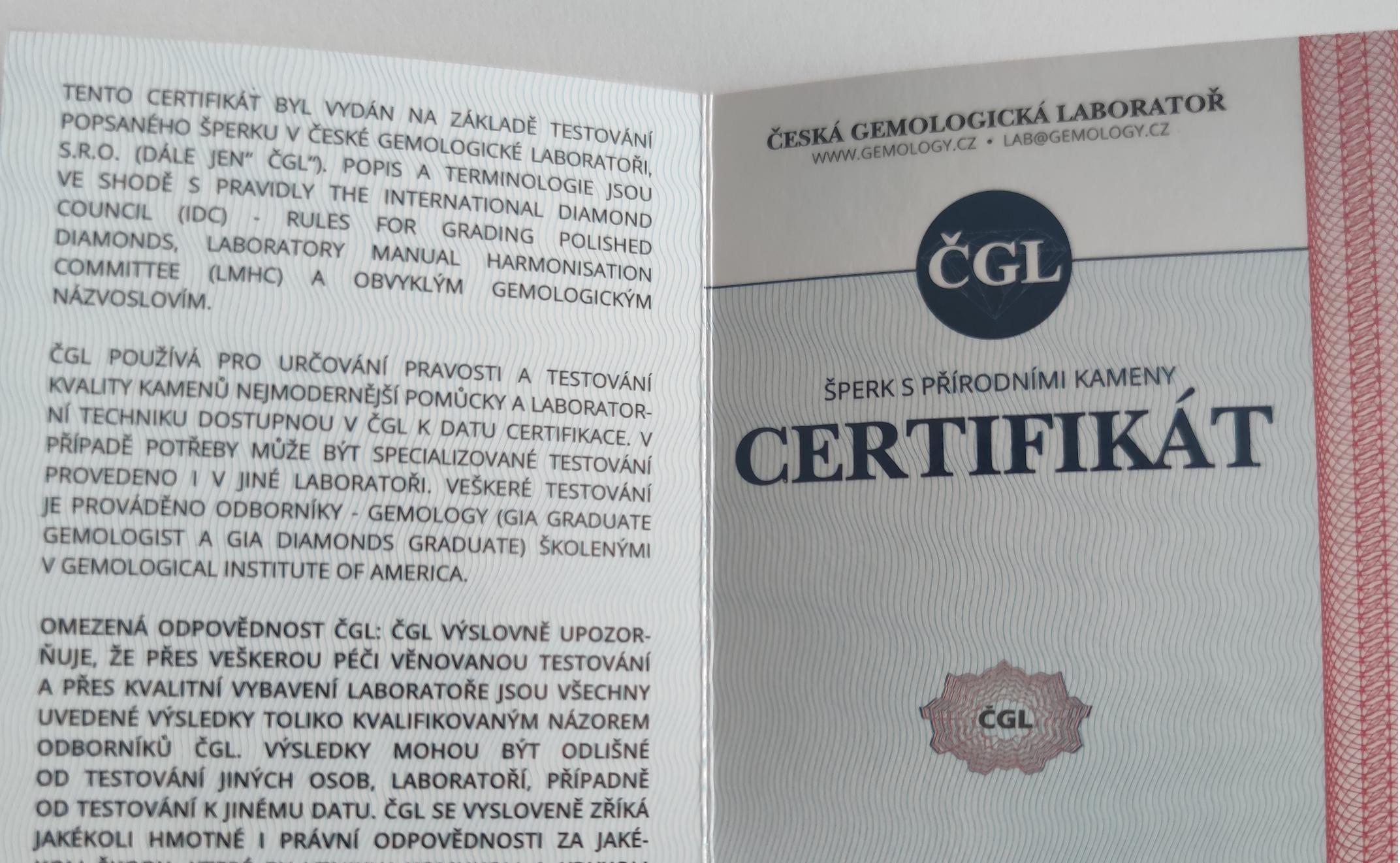 Certifikát moissanitu od České gemologické laboratoře