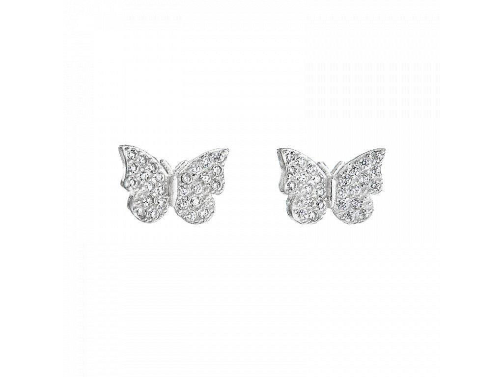Stříbrné náušnice – Motýli s bílými zirkony