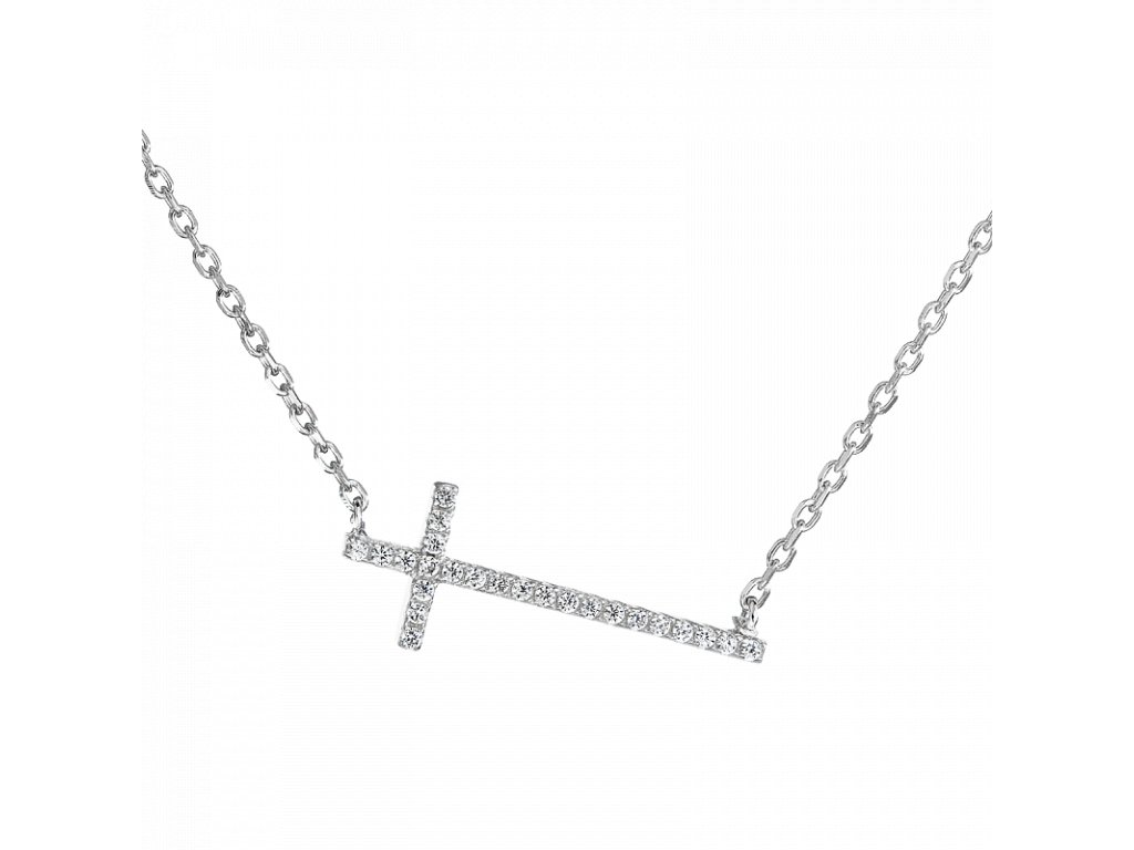 Stříbrný náhrdelník – Křížek s bílými zirkony