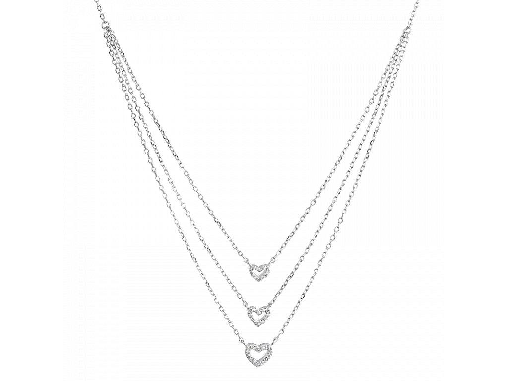 Stříbrný náhrdelník vrstvený Srdce