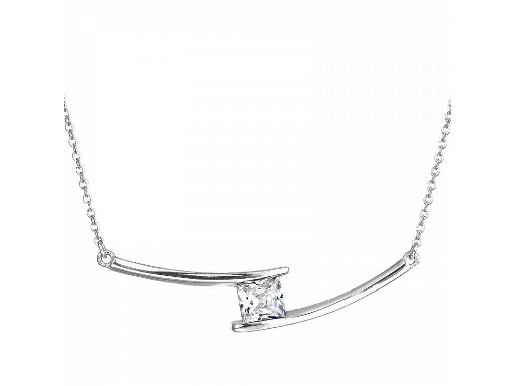Stříbrný náhrdelník – Jemná kostička s bílým zirkonem