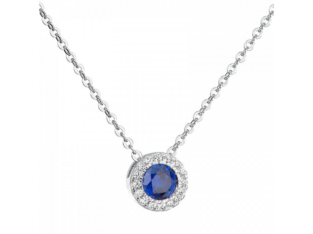 Stříbrný přívěsek Růže s modrým zirkonem