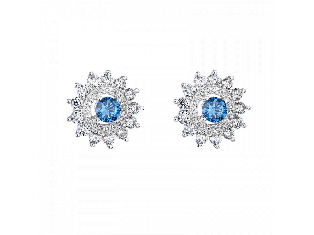 Stříbrné náušnice Kytičky modré