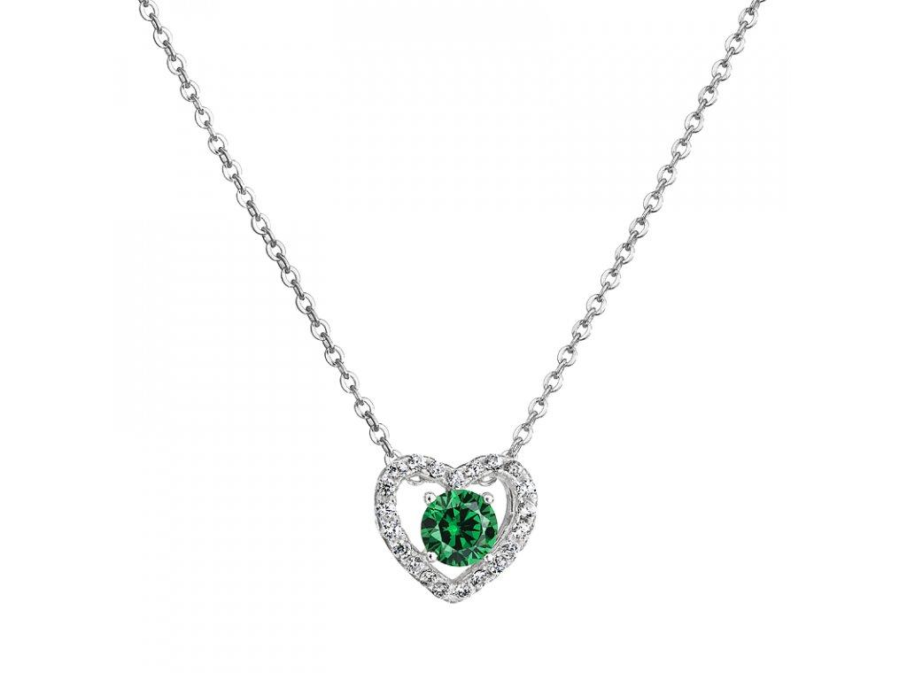 Stříbrný přívěsek – Smaragdové srdce se zeleným zirkonem