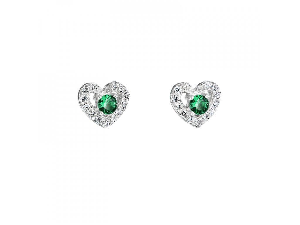 tříbrné náušnice – Smaragdové srdce se zeleným zirkonem