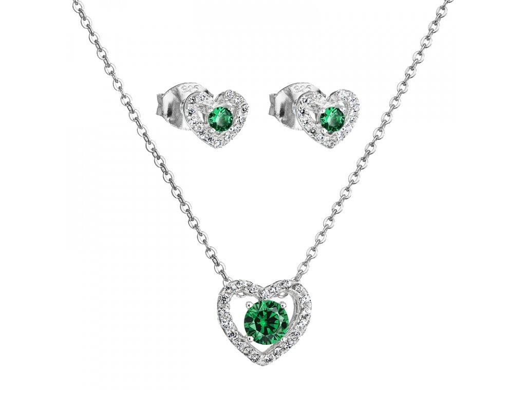 Stříbrný set přívěsek a náušnice – Smaragdové srdce se zeleným zirkonem