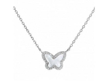 Stříbrný náhrdelník – Brilantní motýl