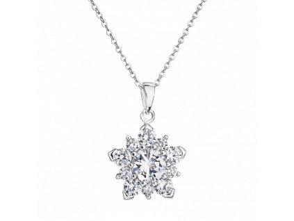 Stříbrný přívěsek s řetízkem – Hvězda s bílými zirkony