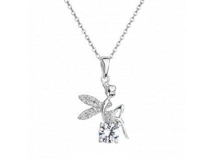 Stříbrný přívěsek – Andělská víla s bílým zirkonem