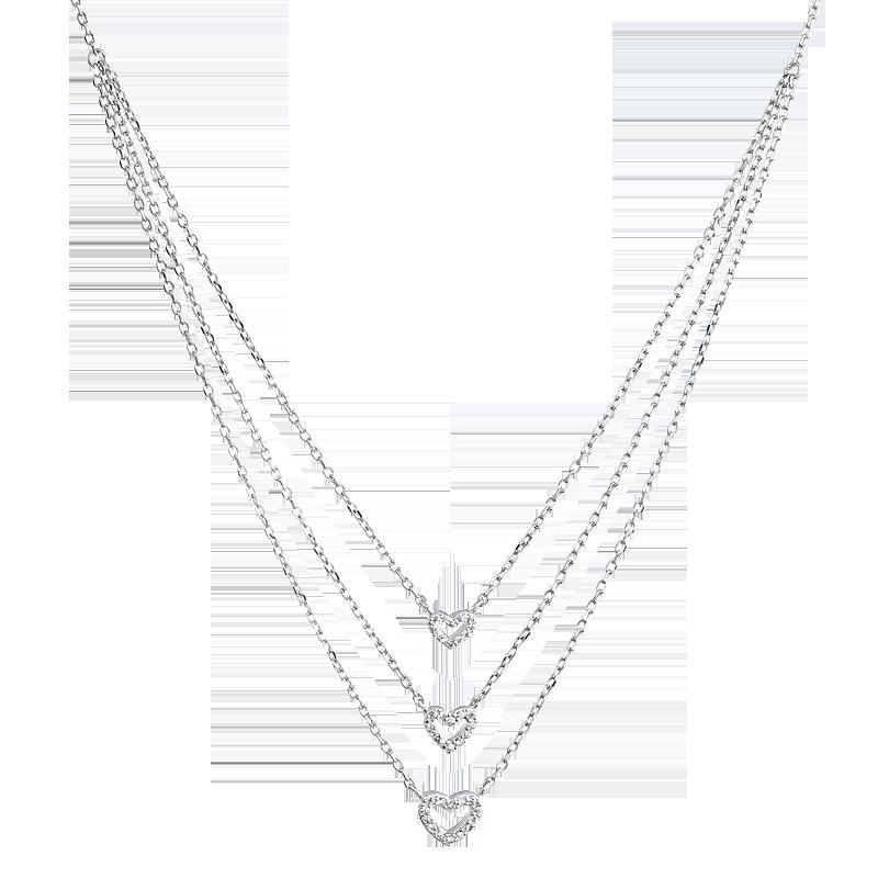 Šperky pro tebe Stříbrný náhrdelník vícevrstvý-Srdce