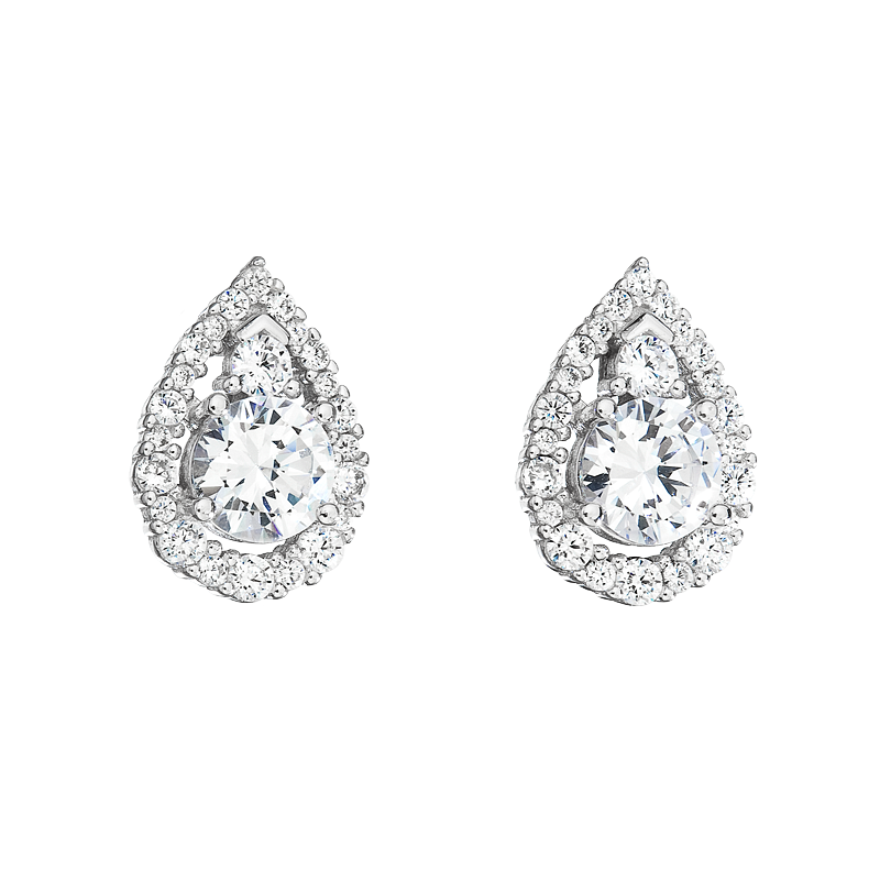 Šperky pro tebe Stříbrné náušnice Brilantní kapky SE05656A
