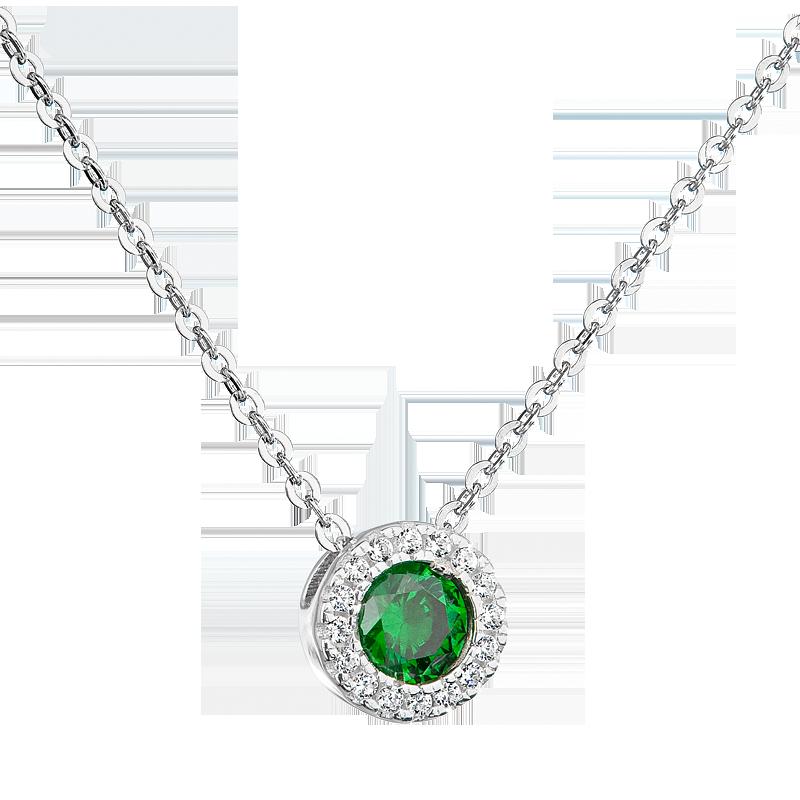 Šperky pro tebe Stříbrný přívěsek Růže - zelená MP05706E