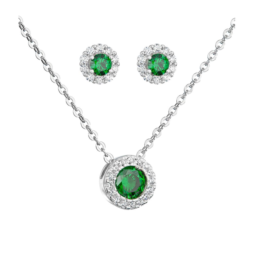 Šperky pro tebe Stříbrný set Růže - zelená