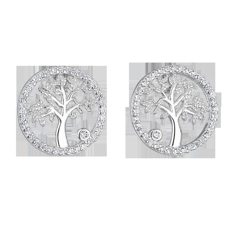 Šperky pro tebe Stříbrné náušnice Strom života SE06558A
