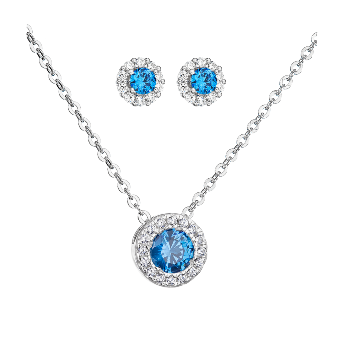 Šperky pro tebe Stříbrný set - Růže s modrým zirkonem
