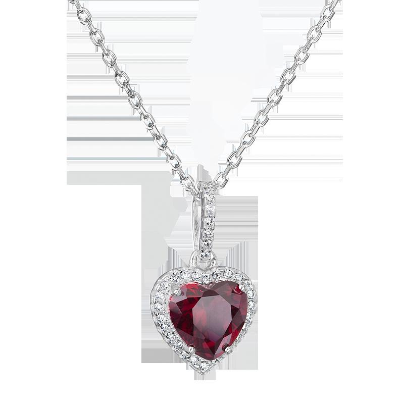 Šperky pro tebe Stříbrný přívěsek Rubínové srdíčko SS-B1197NH