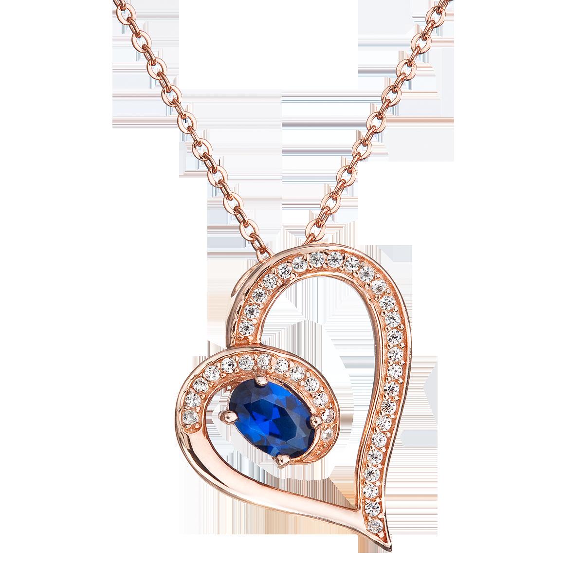 Šperky pro tebe Stříbrný přívěšek s řetízkem – Srdce s modrým zirkonem