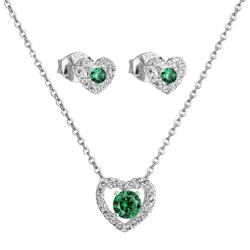 Šperky pro tebe Stříbrný set Smaragdové srdce