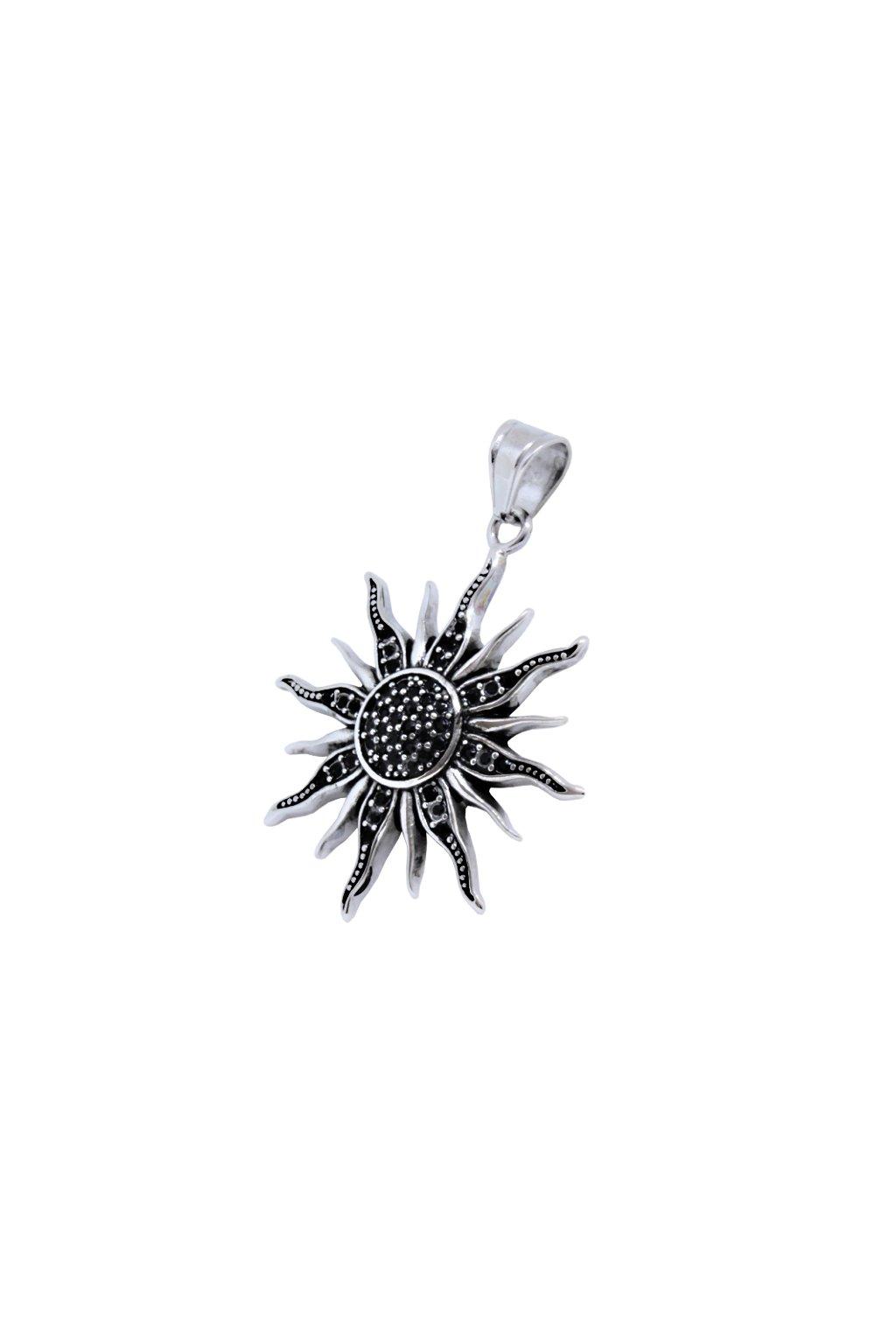 Skalimar Přívěsek z chirurgické oceli SLUNCE BLACK DIAMOND 313955