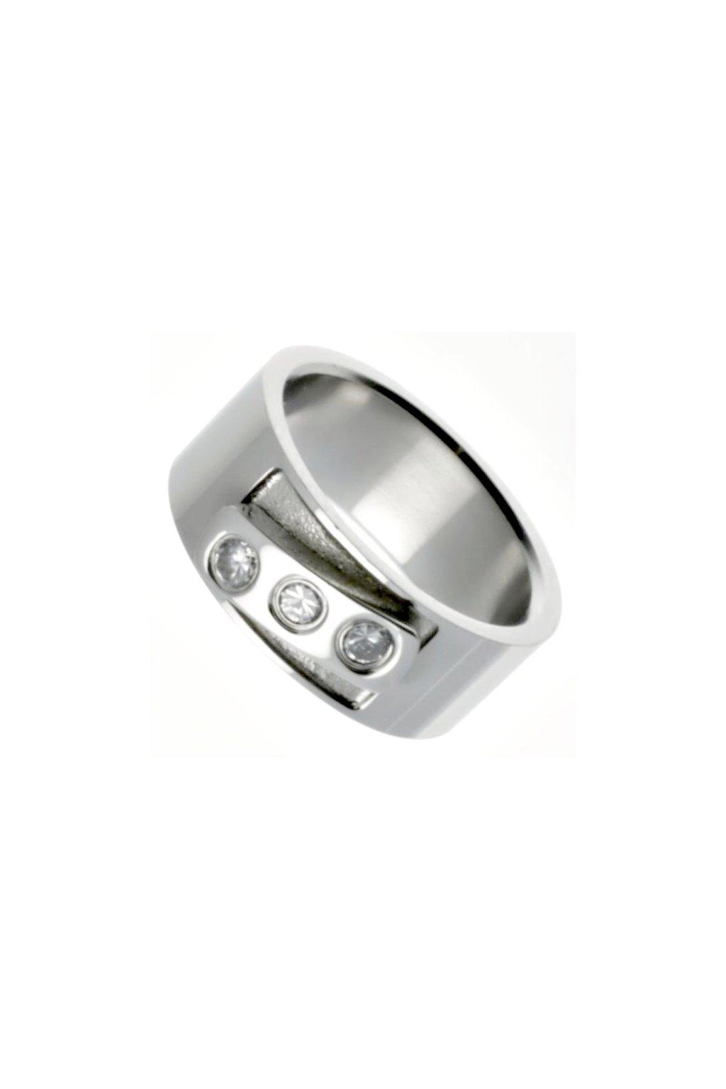 Skalimar Prsten z chirurgické oceli SE TŘEMI KAMÍNKY 212112