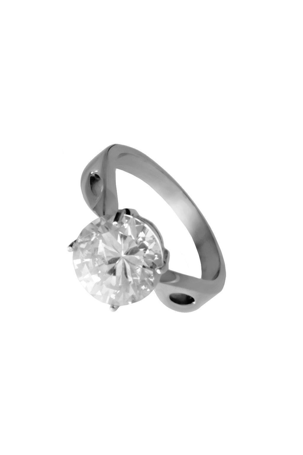 Skalimar Prsten z chirurgické oceli SPLÉTANÝ KROUŽEK S KŘIŠŤÁLOVÝM KAMENEM 212189