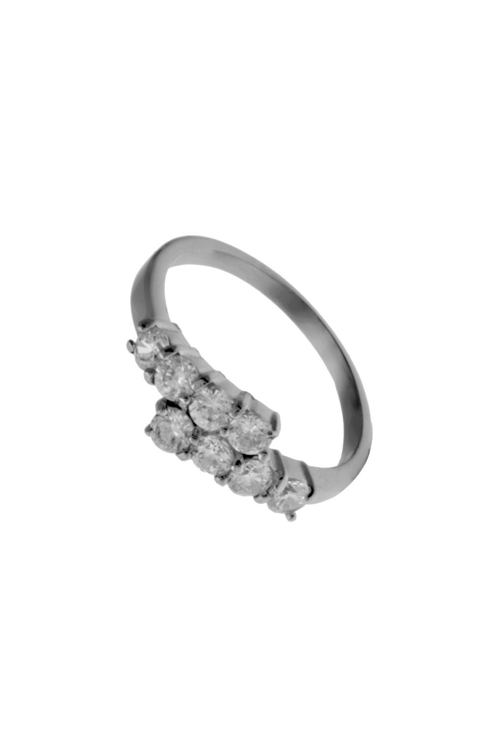Skalimar Prsten z chirurgické oceli KROUŽEK S OSMI KAMÍNKY 312539