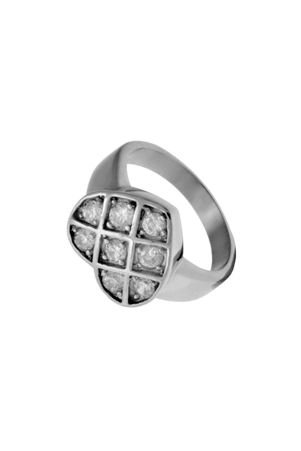 Skalimar Prsten z chirurgické oceli SRDÍČKO Z DROBNÝCH ZIRKONKŮ 312541