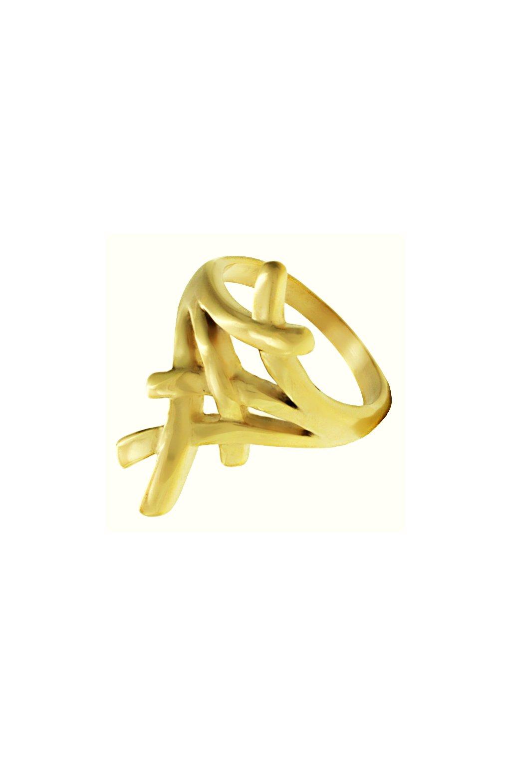 Skalimar Prsten z chirurgické oceli PROPLÉTANÝ POZLACENÝ 312594