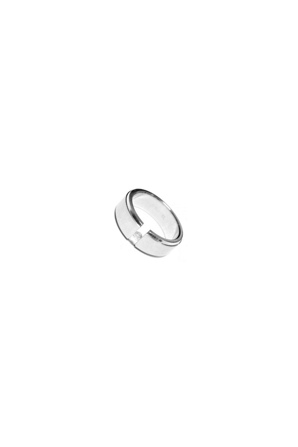 Skalimar Prsten z chirurgické oceli MATNÝ S LESKLÝMI OKRAJI A ZIRKONEM 212001